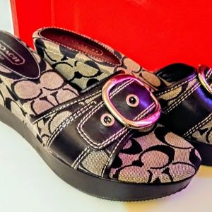 Black leather Coach wedges size 8